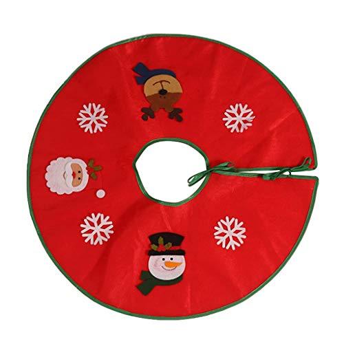 Weihnachtsbaum Rock Weihnachtsmann Schneemann Deer Muster Christbaumschmuck Christbaumdecke Weihnachtsbaum Decke für Weihnachten Feier Indoor Outdoor Mat Dekorationen (100cm) (Rot)