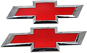 Guzetop Front & Tailgate Bowtie Emblem fit for 2016-2018 Chevy GM Silverado 1500 (Red)
