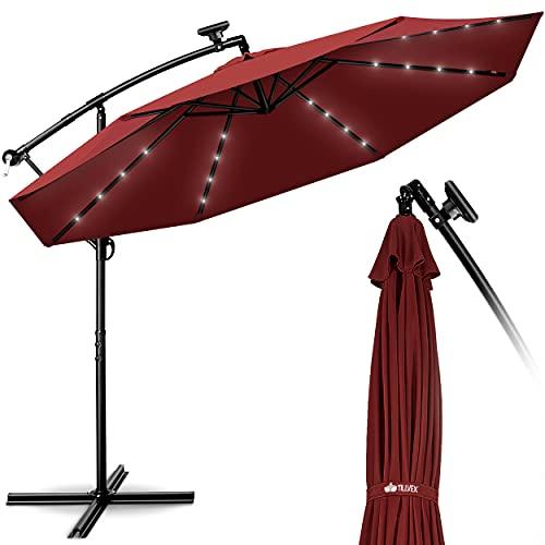tillvex Alu Ampelschirm LED Solar Ø 300 cm mit Kurbel Rot | Sonnenschirm mit An-/Ausschalter | Gartenschirm UV-Schutz Aluminium | Kurbelschirm mit Ständer Marktschirm wasserdicht
