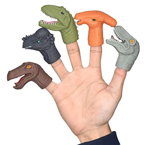 Tireow Poupées De Doigt, Haute Simulation Tyrannosaurus Rex Modèle Manchon De Pouce En Caoutchouc Souple, Pouce Modèle Animal Poupée En Vinyle 5pc