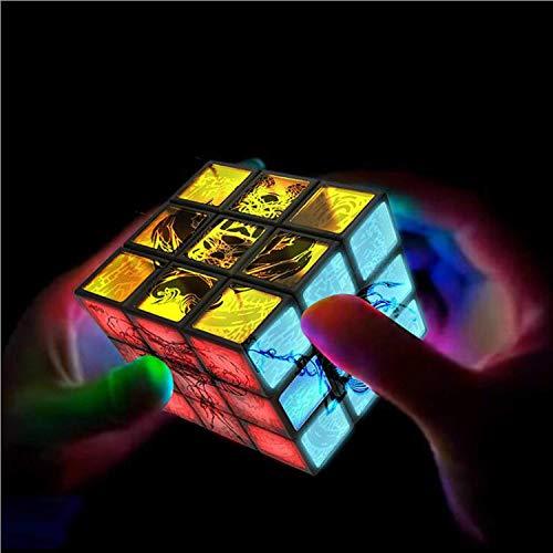 Sooiy Luz de Regalo Cubo electrónico Pantalla LED Rompecabezas Velocidad Giro Tercer Orden Personalidad Cubo Cubo Juguete