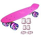 DnKelar Skateboard mit Schutzausrüstung,Mini Cruiser Retro...