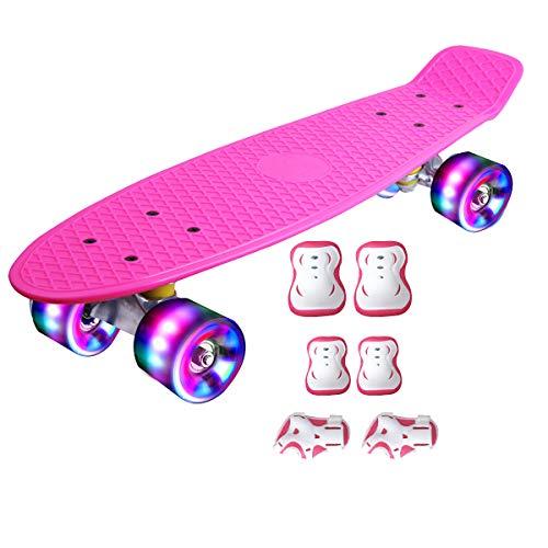 DnKelar Skateboard mit Schutzausrüstung,Mini Cruiser Retro Board für Kinder Jungenliche Mädchen Erwachsenen, LED Leuchtrollen 56x15cm Komplettboard (Rosa)