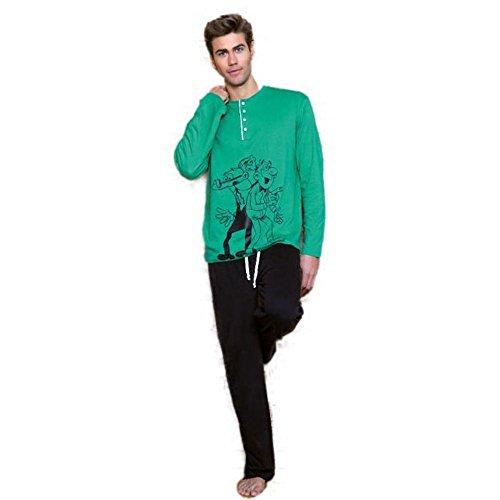 Mortadelo Y Filemón Pijama Hombre Verde-Negro (S