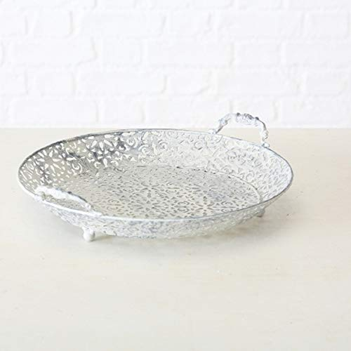 Home Collection Romantisches Landhausstil Deko Tablett rund D35cm grau/weiß Eisen