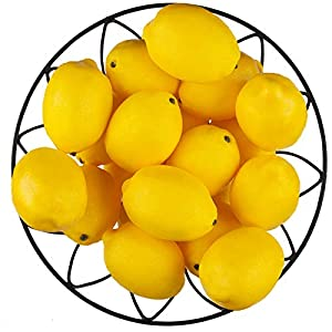 "Toopify 20 PCS Artificial Lemons Fake Fruit Lemons Artificial Lifelike Simulation Lemon for Home House Kitchen Party Decoration, 3"" X 2"""