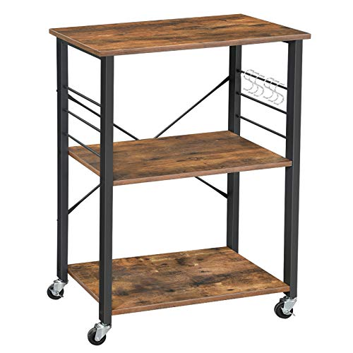 "VASAGLE Kitchen Baker's Rack, Microwave Oven Stand Storage Cart, Printer Stand, 3-Tier Serving Cart with Metal Frame and 6 Hooks, 23.6""L x 15.7""W x 35""H Industrial Design, Rustic Brown UKKS60XV1"