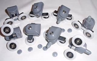 Juego de OF 8 soportes para cañas de pescar para mampara de ducha de guías de ruedas 19 brazos, 21, 23, 25, 26, 27, 28 mm SAS-D7, rueda 25 mm x 5 mm, ...