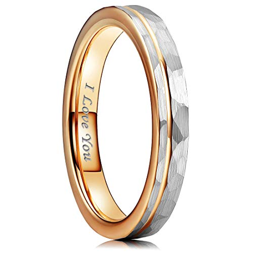 4mm/6mm Women Tungsten Carbide Wedding Ring Hammer Polished Inner Hole & Edge Plated Rose Gold Wedding Band
