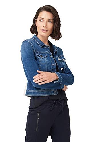 comma Damen Kurze Jeansjacke im Used-Look Blue Denim 38