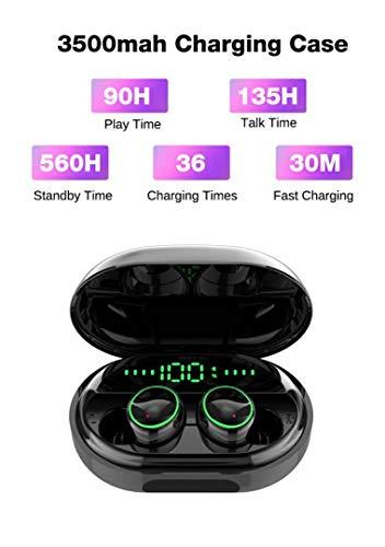 Auriculares inalámbricos C5 con dientes azules IPX 8, a prueba de agua, 3500 mAh, batería externa de 560 h, tiempo de espera, 6 h tiempo de reproducción