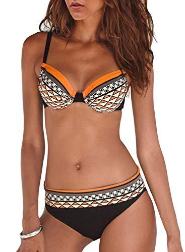 SIDEFEEL Damen Bademode Push Up Bikini Sets Sexy Zweiteilige Badeanzug Bandeau Strandkleidung Strandmode mit Gepolstert Swimsuit S-XXL