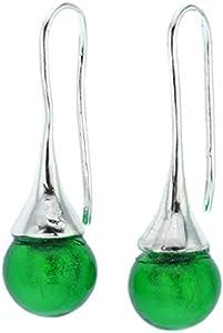 GlassOfVenice Pendientes de cristal de Murano - Verde esmeralda