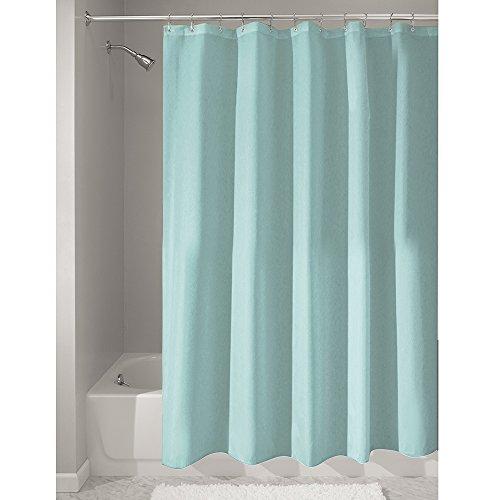 iDesign Duschvorhang aus Stoff, waschbarer Badewannenvorhang aus Polyester in der Größe 180,0 cm x 200,0 cm, wasserdichter Vorhang mit verstärktem Saum, türkis