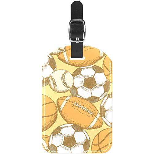Etiquetas de Equipaje de Piel para Maleta de Viaje, de fútbol, de fútbol Americano, de béisbol y Baloncesto, 1 Paquete