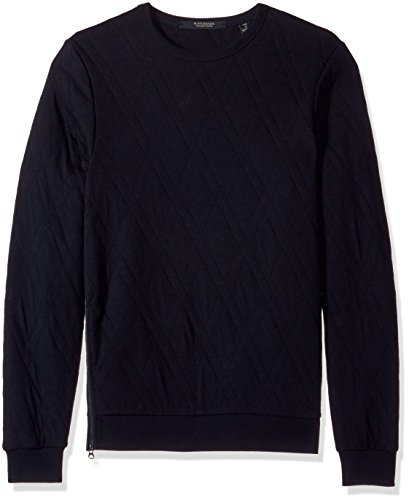 Scotch & Soda Herren Quilted Crewneck Sweat with Zip at Sideseam Polo-Pullover, Night, Mittel