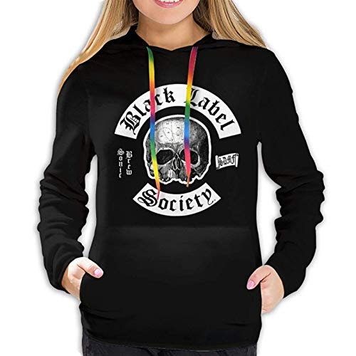 Damen 3D-Bedruckte Top Langarm Hoodie Pullover Sweatshirt Kordelzug warm und bequem Collage Anime Black Label Society Sonic Brew XXL