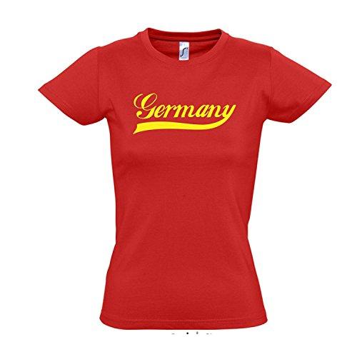Damen T-Shirt - Deutschland Oldschool Germany LÄNDERSHIRT EM / WM FAN Trikot S-XXL , red - gelb , XXL