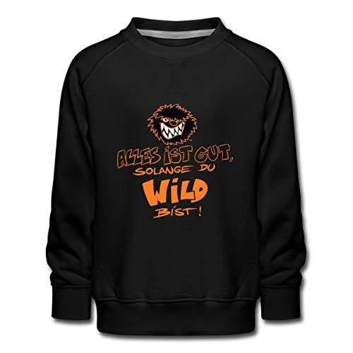 Die Wilden Kerle Spruch Motto mit Logo Kinder Premium Pullover, 98/104 (3-4 Jahre), Schwarz