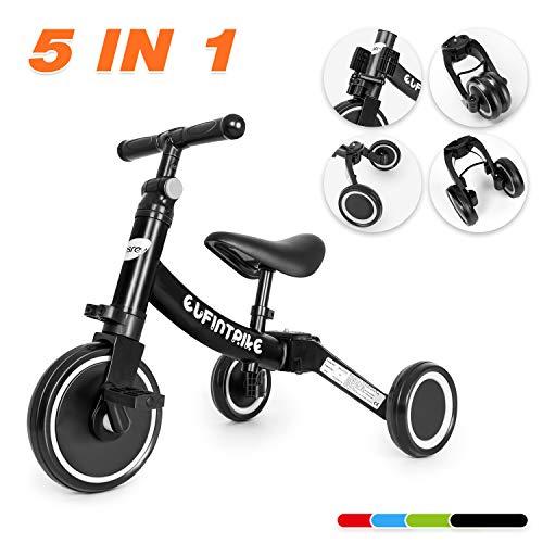 besrey 5 in 1 Laufräder Laufrad Kinderdreirad Dreirad Lauffahrrad Lauflernhilfe für Kinder ab 1 Jahre bis 5 Jahren - Schwarz
