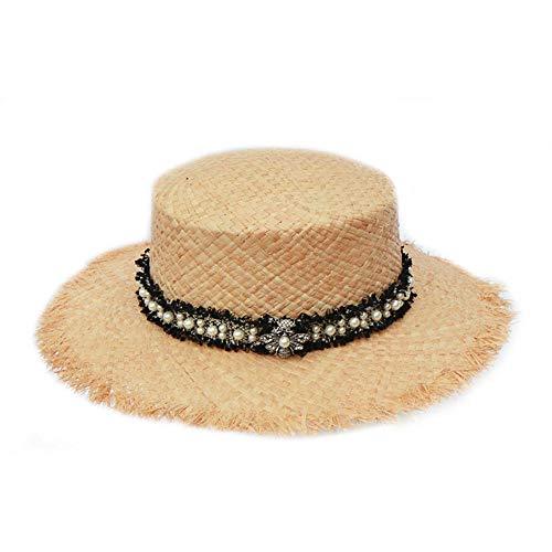 WDRSY Sombrero para El Sol Diseño Original Tweed Pearl Raffia Beach Sombreros para Mujeres Moda Soft Straw Sun Hat Ladies Summer Visor Caps
