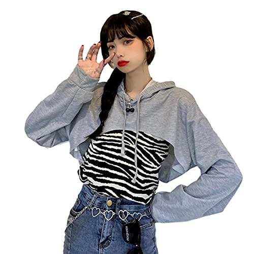 VusiElag Sudadera con Capucha de Mujer Mangas largas con Capucha con Capucha expuesta de Ombligo de Ombligo de Ombligo KPOP Ropa Corta Streetwear Ultra-Corto Gris M