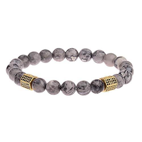 Niaofeces Armbänder Armband Marmor Stein Perlen Armband Homme Men Classic Zirkon Geometric Charm Armbänder & Armreifen-Gold