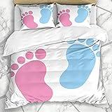 Juegos de Fundas nórdicas Happy Foot Baby Footprint Rosa Azul Cumpleaños Niño Embarazo Infantil Ropa de Cama de Microfibra con 2 Fundas de Almohada Cuidado fácil Antialérgico Suave Suave
