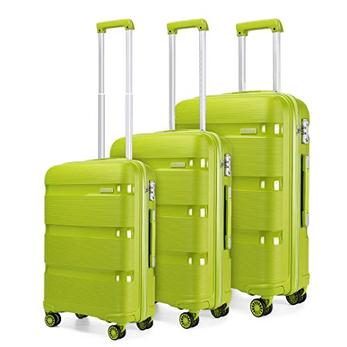 Kono Luggage Sets 3 Piece Hard Shell Travel Trolley 4 Spinner Wheels Lightweight Polypropylene Suitcase with TSA Lock (Green,56cm/65cm/76cm)