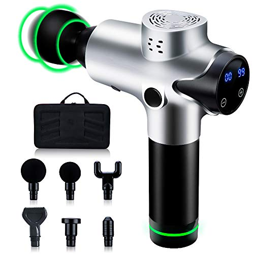 Massage Gun Deep Tissue, 20 Speeds Percussion Massage Gun for Athletes Muscle Recovery, Cordless Handheld Muscle Massager Gun for Body Neck Back Leg, Carry Case & 6 Heads