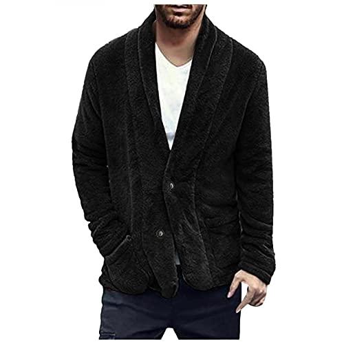 Men's Fuzzy Sherpa Jackets Open Front Cardigan Overcoats Double Sided Fluffy Fleece Button Down Outwears Thermal Tops Black