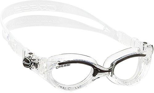 Cressi Flash - Premium Erwachsene Schwimmbrille Antibeschlag und 100% UV Schutz, Schwarz/Transparent- Transparent Linsen, One Size