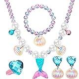 2 Sets de Pulseras Collares de Sirena con Cola de Sirena, Incluido Collar Pulsera Anillo Pendientes 10 Bolsas de Organza para Decoraciones Fiesta de Sirena