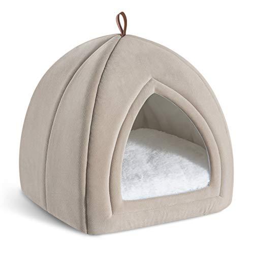 Bedsure Cama Gato Cueva Suave - Casa Gato Mediano Lavable con Cojín Desenfundable y Extraíble, Camas para Perros Pequeños 35x35x38cm, Beige