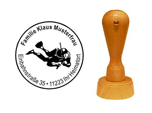 Stempel Adressenstempel Motivstempel « TAUCHER » mit persönlicher Adresse und Motiv - Taucherstempel Tauchen Schnorcheln Tauchlehrer