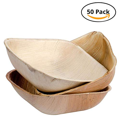 CaterEco 4.25-inch Square Palm Leaf Bowl Set (50 Pack) | Ecofriendly Disposable Dinnerware | Heavy Duty Biodegradable Party Utensils for Wedding, Camping & More
