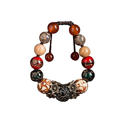 Bracelets Bijoux Tissé style Agate Bracelet rétro chinoise main ethnique