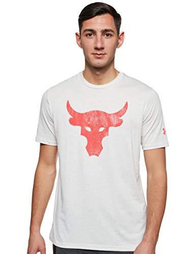 Camiseta Under Armour Project Rock Bull Masculina - Off White e Vermelho - GG