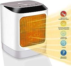 YAUUYA Calefactor Eléctrico Mini Calefactor Ventilador 2 in1 Luces LED Calentamiento Rápido Calefactor Aire Frio y Caliente Calefactor Cerámico PTC 800W Uso Personal en Oficina y Hogar