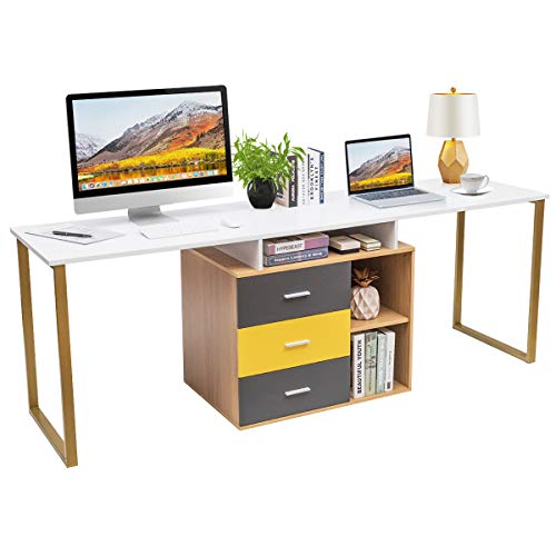 Tangkula 87 inch 2-Person Desk Double Computer Desk, Multifunction L-Shaped Desk w  3 Storage Drawers & 2-Tier Shelves, Writing Desk Computer Workstation with Spacious Desktop, Home Office Desk