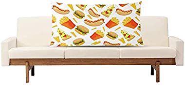 InterestPrint Cute Fast Food Hamburger Potato Hot-Dog and Pizza Decor Pillow Cover Case King Size 20x36 Inch, Decorative Rect