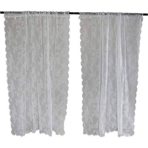 DII Sheer Lace Decorative Curtain Panels for Bedroom, Living Room, Guest Room, or Formal Sitting Areas, Light & Airy to Filter Sunlight Into Room, (Set of 2, 50 x 84) White Flower Blossom