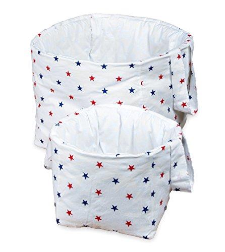 Vizaro - Utensilo/Großes gepolstertes und Kleines Körbchen für das Babyzimmer/Kinder- 2 Pack Einheiten - 100% REINE BAUMWOLE - Made in EU - ÖkoTex - K. Strandhäuschen