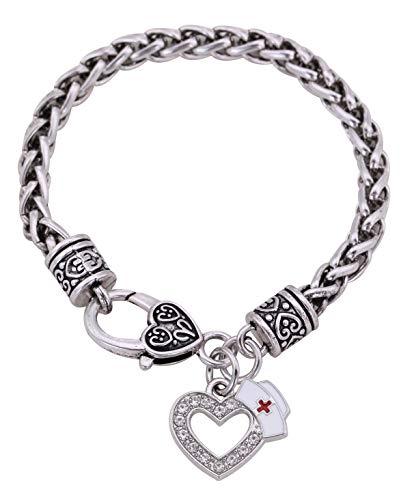 Vasago - Gorro de enfermera en forma de corazón con cristales pavimentados, cadena de trigo, pulsera de regalo de graduación para hombres y mujeres
