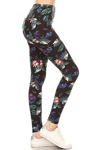LY5X-R509 Rainforest Flower Yoga Print Leggings, Plus Size