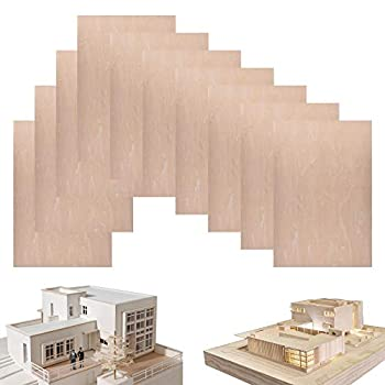 10 Pack Basswood Sheets 1/16 ×8×12 Inch Thin Unfinished Plywood Wood Sheets for Craft DIY Project