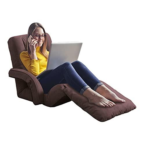 FLOGUOR Sofá cama plegable con 14 posiciones ajustable y cómoda silla de suelo con reposabrazos y almohada con sillón reclinable...