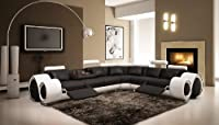 VIG 4087 Black & White - Modern Leather Sectional Sofa with Recliners