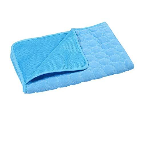H-ei Gato Cooling Pad, Cama del Perro, Mascotas de Seda del Hielo Mat, Asiento de Coche cojín de enfriamiento, Transpirable y portátil (Color : Blue, Size : L)