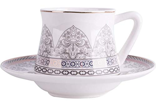 Almina   12 Teilig   Türkisches Kaffee-Set   Mokkatassen   Porzellan   75ml   Weiß   Silber   Lila  